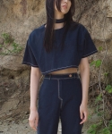 부이(VUI) TIE CROP TOP NAVY