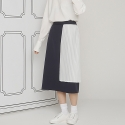 PLEATS POINT SKIRT_NAVY