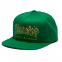 쓰레셔(THRASHER) Flame Logo Structured Snapback - Green