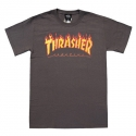 쓰레셔(THRASHER) Flame Tee - Charcoal