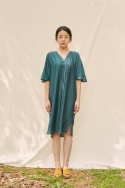 클로징멘트(CLOSINGMENT) [closingment] viscose rayon v-neck dress - deep green