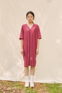 클로징멘트(CLOSINGMENT) [closingment] viscose rayon v-neck dress - violet wine