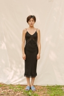 클로징멘트(CLOSINGMENT) [closingment] viscose rayon slip dress - black