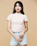 조제(JOSEE) PINK BUSY TURTLENECK TOP