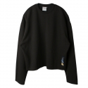 로맨틱크라운(ROMANTIC CROWN) [ROMANTICCROWN]Standard Drop shoulder Wide Crew neck_Black