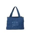 몽슈슈(MONCHOUCHOU) Canvas Tote Bag-Navy