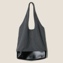 Fabric & Leather Bag (Charcoal)