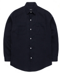 Pure Linen Utility jacket shirts navy