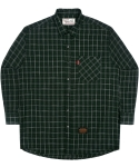 언더에어(UNDERAIR) Oversize Tile Check Shirts - Deep Green