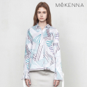 메케나(MEKENNA) MeKENNA triangle printed ribbon cuffs blouse_MX2Y3BL0030