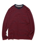 유니폼브릿지(UNIFORM BRIDGE) 16aw L/S stripe crew neck tee navy/red