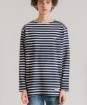 미나브(MINAV) [UNISEX] TOUCAN STRIPE LONG T-SHIRT NAVY