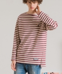 미나브(MINAV) [UNISEX] TOUCAN STRIPE LONG T-SHIRT WINE