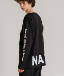 미나브(MINAV) [UNISEX] PRINT BASIC LONG T-SHIRT BLACK