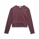 화이트블랭크레이블(WHITE BLANK LABEL) [Tea Please] One Point Stripe L/S Tee(Wine)