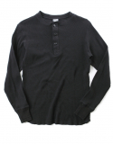 아웃스탠딩(OUTSTANDING) MILITARY THERMAL HENLEY SHIRTS [BLACK]