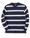 아웃스탠딩(OUTSTANDING) COARSE BORDER L-SLEEVE [NAVY/WHITE]