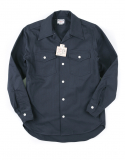 아웃스탠딩(OUTSTANDING) HBT WIDE COLLAR WORK SHIRTS [NAVY]