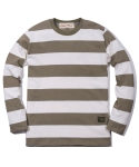 러기드하우스(RUGGED HOUSE) WASHING STRIPE T-SHIRTS 브라운
