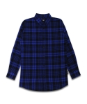 UNISEX Long Check Shirt-Blue