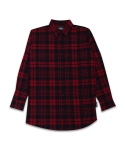 UNISEX Long Check Shirt-Red
