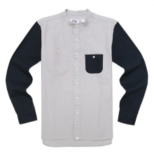 BAND COLLAR SHIRTS-GREY/NAVY
