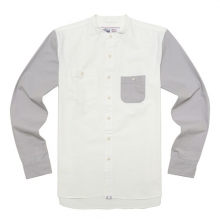 BAND COLLAR SHIRTS-ECRU/GREY