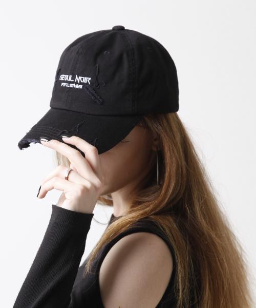 에프티에프클로징_Seoul noir 데미지 볼캡 blk/white