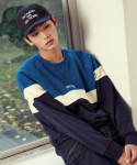 셔터(SHUTTER) SHUTTER RAGLAN BLOCK SWEAT SHIRTS (DEEP BLUE)