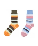 [2개 SET] AMAPOLA multi stripe socks 2P