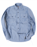 아웃스탠딩(OUTSTANDING) CHAMBRAY WORK SHIRTS [BLUE]