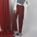 BELTED HIGH PANTS RED
