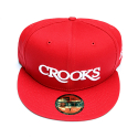 크룩스앤캐슬(CROOKS & CASTLES) CROOKS & CASTLES Mens Woven Fitted Cap - Serif Crooks (RED)