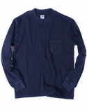 아웃스탠딩(OUTSTANDING) QUARTER NECK INDIGO POCKET TEE [INDIGO]