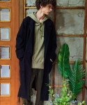 프레리() [UNISEX] BIO-WASHED COTTON LONG ROBE COAT(Black)