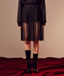 살롱드서울(SALON DE SEOUL) Woman See Through Pleats Skirt (BLACK)