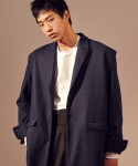 살롱드서울(SALON DE SEOUL) Unisex Single Half Coat (DARK BLUE)
