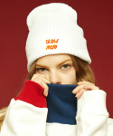 슬로우애시드(SLOW ACID) Logo beanie (white/navy)