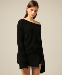 에드센스(ADDSENSE) OFF-SHOULDER WIDE KNIT_BLACK