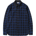 모디파이드() M#1049 modified block check shirt (blue)