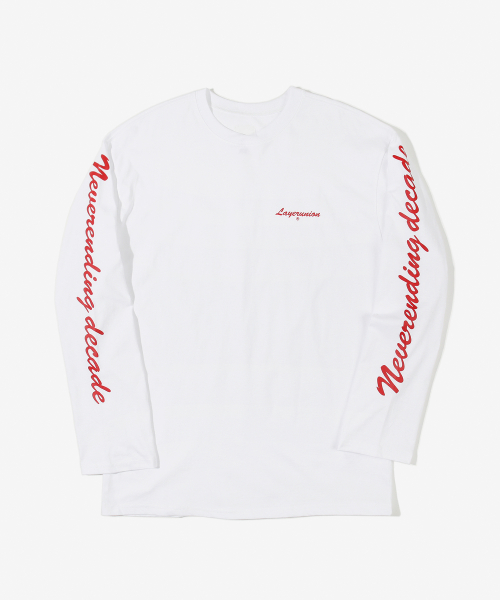 레이어 유니온_SCRIPT NED LONG SLEEVE TEE WHITE