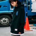본챔스(BORN CHAMPS) LAYERD AND SLIT HOOD BLACK CEPDMHD04BK