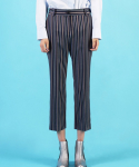 Cropped Stripe Mixed Pants