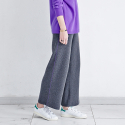 메종드이네스(MAISONDEINES) PURPLE LINE WIDE KNIT PANTS_GY
