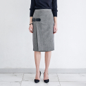 메종드이네스(MAISONDEINES) BUCKLE TWILL LAB SKIRT