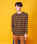 AHHH : Color Stripe Tee 브라운