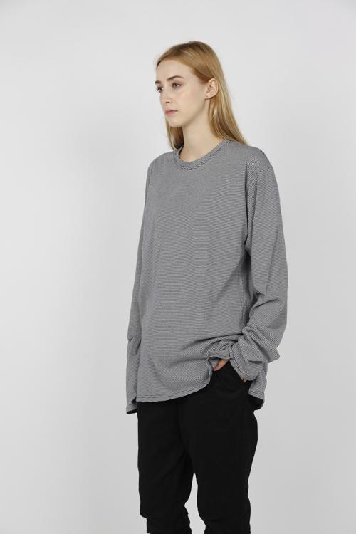 에프티에프클로징_오버사이즈 스트라이프 롱슬리브 티셔츠 - 검/흰