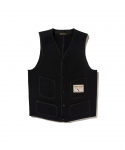 BROWNS BEACH / 724 V NECK VEST / SOLID BLACK
