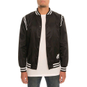 CROOKS & CASTLES Mens Woven Stadium Jacket - The Player (BLACK)