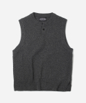 HERRINGBONE KNIT VEST _ CHARCOAL